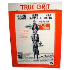 Rare John Wayne True Grit Sheet Music, 1969
