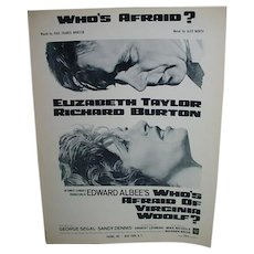 Rare Elizabeth Taylor/Richard Burton Sheet Music, Who's Afraid of Virginia Woolf, 1966