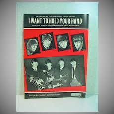 Original Beatles Sheet Music, I Want To Hold Your Hand, 1963