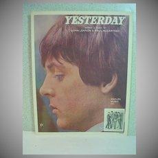 Original Beatles Sheet Music, Yesterday, 1965