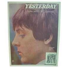 Original Beatles Sheet Music, Yesterday, 1965