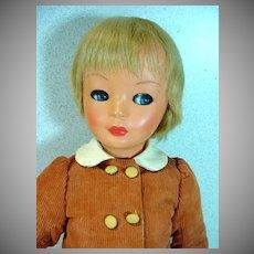 """Lovely 1960's Bonomi Italian Hard Plastic Doll, 20"""""""