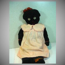 Vintage 1930's Black Cloth Doll, Arts and Crafts