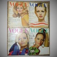 4 Vintage MOD 1960's Vogue Fashion Magazines!