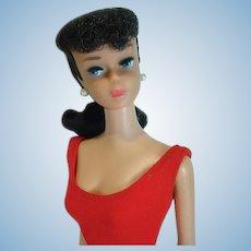 Vintage Mattel #6 Brunette Barbie Ponytail with Pink Lips, 1962