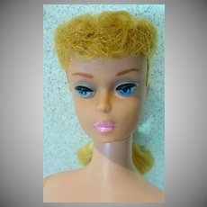 Vintage Mattel Blond PonyTail Barbie with Pink Lips, 1962