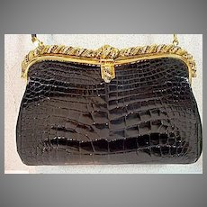 VIntage Embossed Black Crocco Leather Evening Purse with Ornate Stone Frame, 1960's