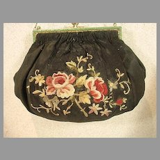 1920' s 'AMI',French Silk Purse with Soutache Floral Embroidery and Green Enamel Bead Trim.