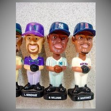 Six Vintage Miniature Bobble Head Baseball Figures