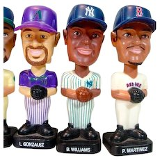 Six Vintage Miniature Bobble Head Baseball Figures