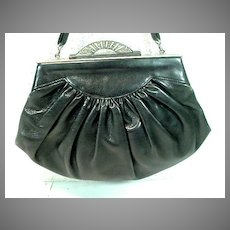 Vintage, 1950's Leather Evening Purse with Sterling Clasp.
