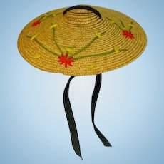 "Vintage Wide-Brimmed Beach Hat for 10 1/2"" Fashion Doll, 1950's"