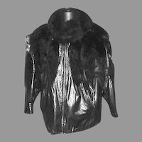 1990's Ladies Black Leather and Possum Jacket