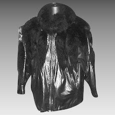 1990's Ladies Black Leather and Possum Jacket