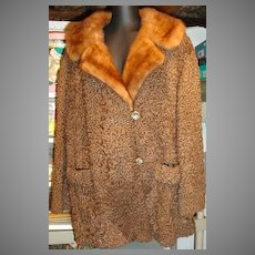 VIntage 1970's Brown Persian Lamb 3/4 Length Coat w/Mink Collar
