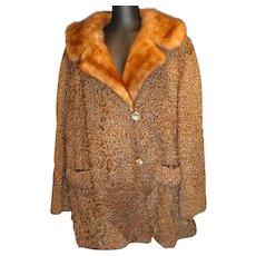 VIntage 1970's Brown Persian Lamb 3/4 Length Coat w/Mink Collar