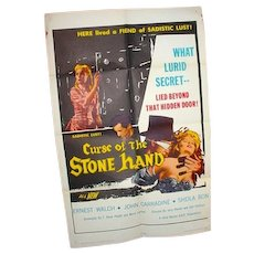 Orig. One Sheet Movie Poster for Horror Film, Curse of the Stone Hand, 1965