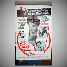 """Orig. One Sheet Movie Poster for 1961 film, """"The Devil Made A Woman"""""""
