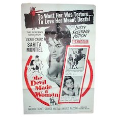 "Orig. One Sheet Movie Poster for 1961 film, ""The Devil Made A Woman"""