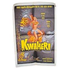 "Orig. One Sheet Movie Poster for  1965 Exploitation Film, ""Kwaheri"""