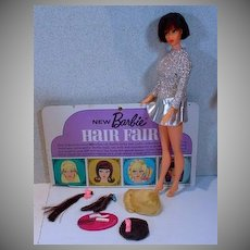 Vintage Mattel Brunette Barbie Hair Fair Doll with Accessories, 1969