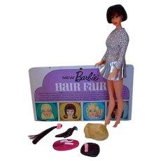 Vintage Mattel Brunette Barbie Hair Fair Doll with Accessories, 1969