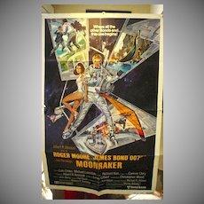 VIntage Movie Poster James Bond Moonraker, ROger Moore, 1979