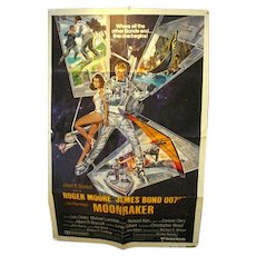 VIntage Movie Poster James Bond Moonraker, ROger Moore, 1979