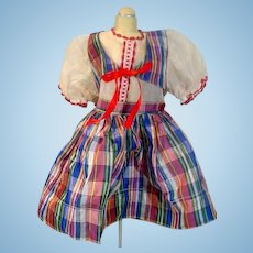 Vintage Plaid Taffeta Doll Party dress, 1950's!