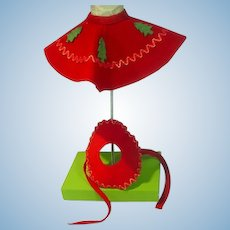 Vintage 1950's Holiday Doll Felt Skirt and Hat