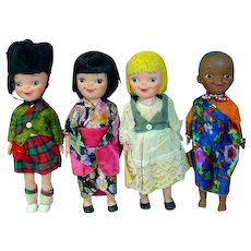 1964/65 New York World's Fair It's A Small World 8 inch Dolls, Set of 4