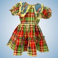 Charming 1950's Doll Plaid Party Dress