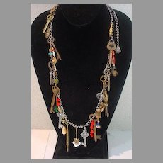 "VIntage 1990's ""Hand Made"" Key Charm Necklace, Unique"