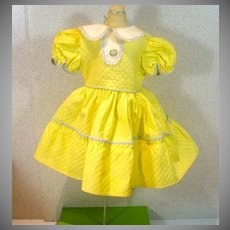 Vintage Yellow Cotton Pique Doll Dress, 1950s