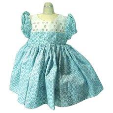 Vintage 1950's Blue Floral Cotton Doll Dress