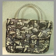 Lovely Ingber Silver Brocade Purse