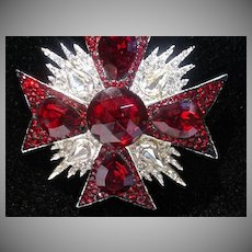 Jay Feinberg Maltese Cross Crystal Brooch, 1980's