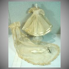 Vintage Doll Wedding Dress, Long Veil and Bouquet 1940's