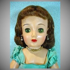 Ideal 20 Inch Revlon Doll in Aqua Taffeta Kissing Pink Dress, 1956