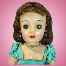 Ideal 20 Inch Revlon Doll in Aqua Taffeta Kissing Pink Dress, 1956