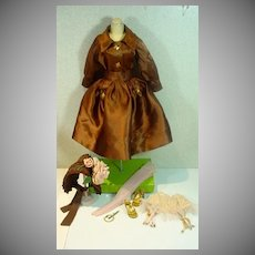 Vintage Madame Alexander Cissy Size Brown Satin Dress with Accessories, 1950's