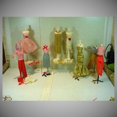 Collection of Vintage 11 1/2 Lilli Clone Doll Outfits, 1960's
