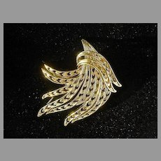 "Large Vintage ""Gold Tone"" Monet Brooch, 1960's"