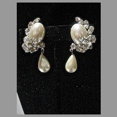 Vintage Garne Drop Faux Pearl & Rhinestone Clip on Earrings, 1960's