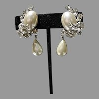Vintage Garne Drop Faux Pearl & Rhinestone Clip on Earrings, 1960's