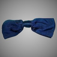 Vintage Ladies Chanel Navy Blue Satin Bow Hair Clip, 1980's