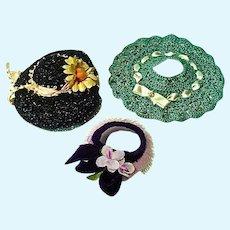 Three Vintage Cissette Size Doll Hats, 1950's Chic!