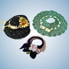 Three Vintage Cissette Size Doll Hats, 1950's Chic!