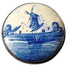 Vintage Porcelain Delft Brooch, Windmill Scene, Holland, 1950's