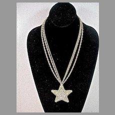 Beautiful Rhinestone and Filigree Karu Star Pendant Necklace, 1960's